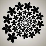 Virvel virvelbakgrund Roterande spiral Modell av virvla av hjärtor Symbol blomma, kronblad, översikt, svart, vit Fotografering för Bildbyråer