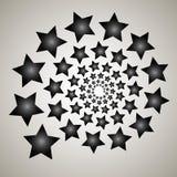 Virvel virvelbakgrund Roterande spiral Modell av virvla av hjärtor Symbol stjärnor, stjärna, översikt, svart, vit Arkivbilder