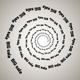 Virvel virvelbakgrund Roterande spiral Ord text, försäljning, affär, kommers, rabatter Royaltyfria Foton