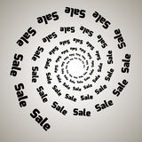Virvel virvelbakgrund Roterande spiral Ord text, försäljning, affär, kommers, rabatter Royaltyfria Bilder
