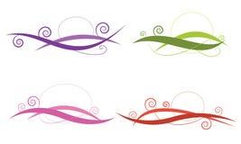 Virvellinjen abstrakt begrepp fyra utformar vektorn för färguppsättningen för beståndsdelen, de Arkivfoto