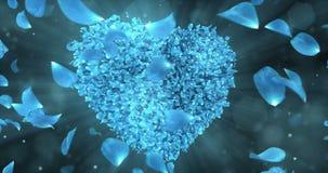 Virvla den roterande blåa Rose Flower Petals In Heart Shape bakgrundsöglan 4k royaltyfri illustrationer