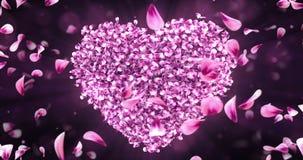 Virvla den roterande rosa Rose Sakura Flower Petals In Heart Shape bakgrundsöglan 4k royaltyfri illustrationer