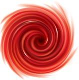 Virvlande runt röd bakgrund för vektor Fruktsaft av röda frukter Arkivfoto