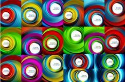Virvlande runt spiral bakgrundsuppsättning, färgrika band vektor illustrationer