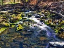 Virvlande runt ström in i ett mycket litet damm fotografering för bildbyråer