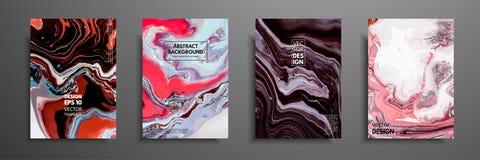 Virvlar av marmor eller krusningarna av agat Vätskemarmortextur Fluid konst Tillämpbart för designräkningar, presentation vektor illustrationer