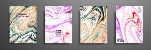 Virvlar av marmor eller krusningarna av agat Vätskemarmortextur Fluid konst Tillämpbart för designräkningar, presentation stock illustrationer