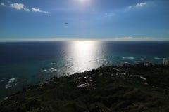 Visão bonita do mar perto do por do sol em Havaí fotos de stock royalty free