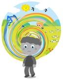 Visão confusa do menino autístico Fotografia de Stock
