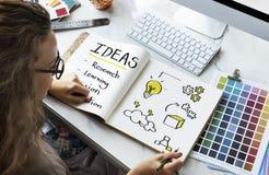 Visão da pesquisa da inovação da ideia que aprende o conceito foto de stock