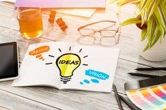 Visão social criativa dos trabalhos em rede do bulbo dos meios das ideias Fotos de Stock Royalty Free