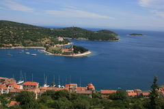 Vis-chirch. Panorama of old town Vis in the island Vis, Croatia Royalty Free Stock Photos