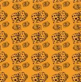 Vis-doos patroon zwarte lijnen, vissen op gele achtergrond stock illustratie