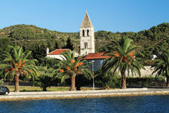 Vis Island. A monastery at the bay of Vis town at the Croatian island Vis in the Adriatic sea Stock Image