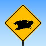 Vis map on road sign. Square poster with Vis island map on yellow rhomb road sign. Vector illustration vector illustration
