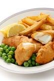 Vis met patat, Brits voedsel Stock Afbeelding