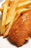 Vis met patat gebraden diner Royalty-vrije Stock Foto