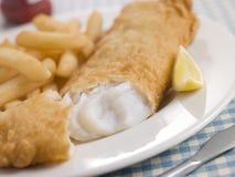 Vis met patat met de Ketchup van de Citroen en van de Tomaat Royalty-vrije Stock Foto's