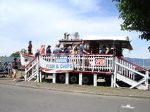 Vis met patatrestaurant in de stijl van het land Royalty-vrije Stock Foto