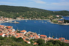 Vis-old town. Panorama of old town Vis in the island Vis, Croatia Stock Photography