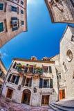 Vis-oog mening van de oude stad op hemelachtergrond stock foto