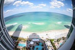 Vis-oog mening van het strand van Miami Stock Foto