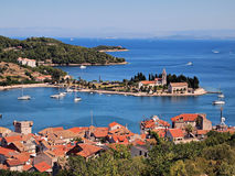 Vis port-Croatia. Vis port from from hill, Issa port panorama Royalty Free Stock Photo