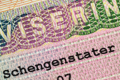 Visa. Fragment of the Schengen visa of Sweden in the passport Stock Image