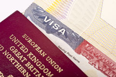 Visa. Close up of the word visa on an american visa Royalty Free Stock Photo