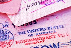 Visa. American visa in the passport Stock Photos