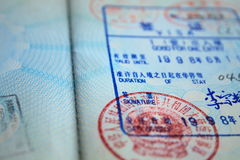 Visa. A chinese visa and stamp royalty free stock photography