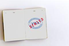 Visa admitted stamp in passport Stock Image