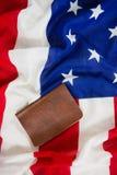 Visa on an American flag. Close-up of visa on an American flag stock image