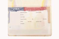 Visa americana en blanco imagen de archivo libre de regalías