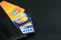Visa And Mastercard Credit Cards In Leather Wallet Royalty Free Stock Images
