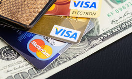 Visa And Mastercard Credit Cards In Wallet Stock Photo