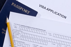 Visa Application. Directly above photograph of an application for a visa stock images