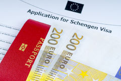 Visa application form, passports, euro banknotes stock images