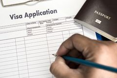 Visa application form to travel immigration a document money for. Passport map and travel plan royalty free stock photography