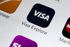 Visa application icon on Apple iPhone X screen close-up. Visa app icon. Visa online application. Social media app. Sankt-Petersburg, Russia, February 9, 2018 Stock Photos