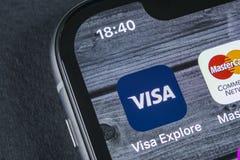 Visa application icon on Apple iPhone X screen close-up. Visa app icon. Visa online application. Social media app. Sankt-Petersburg, Russia, April 12, 2018: Visa Royalty Free Stock Photos