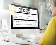 Visa Application Online Registration Form Concept stock photos