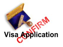 Visa Application. Top view of a rubber stamp with a giant word Visa Application Stock Photography