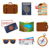 Visa application and vacation icons Royalty Free Stock Images