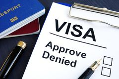 Visa approve or denied and passport. Immigration. Royalty Free Stock Photos