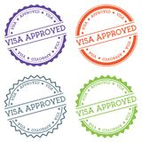 Visa approved badge isolated on white background. Flat style round label with text. Circular emblem vector illustration Stock Photos