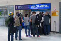Visa on arrival stand in International terminal  of Bandaranaike Royalty Free Stock Photos