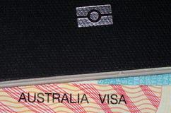 Visa australiana y pasaporte australiano Imagen de archivo libre de regalías