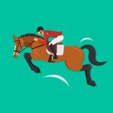 Visa banhoppninghästen med jockeyn, rid- sport Arkivfoto
